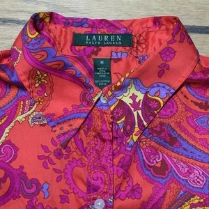 LRL red/pink Paisley 3/4sleeve,button up shirt